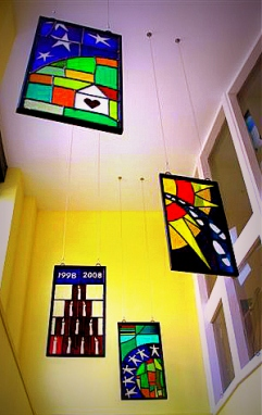 Manchester Foyer, run by Saint Vincent's Housing Association, celebrates its tenth Birthday with installation of new stained glass in participation with residents