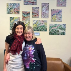 Stockports women's Centre commission Artist with Gail volunteer artist at centre