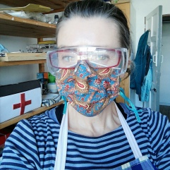 Under the mask I am very happy to be teaching again.